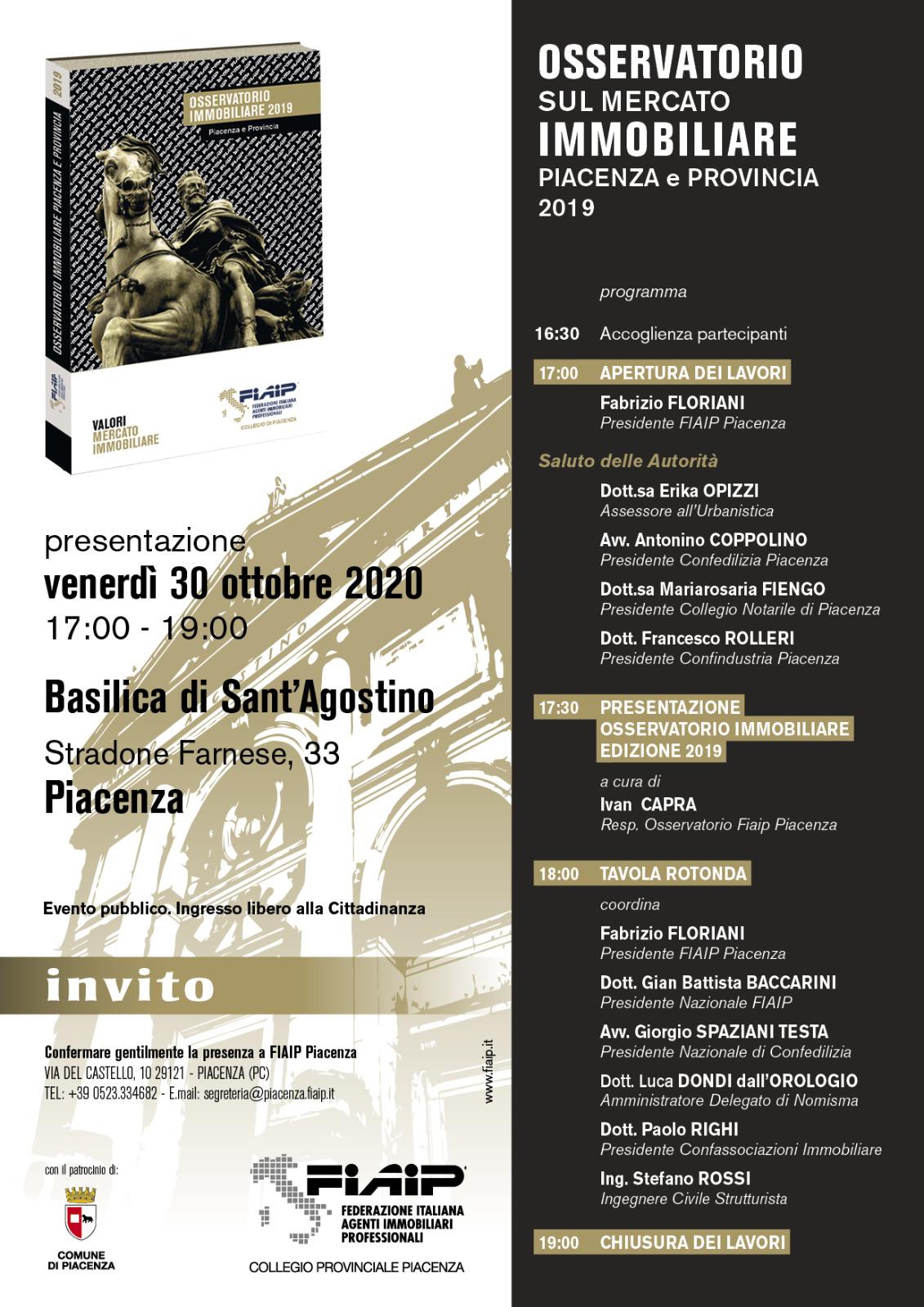 Read more about the article PIACENZA – 30/10/2020 | Presentazione Osservatorio Immobiliare 2019