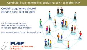 Read more about the article MODENA – 2/02/2021 | Condividi i tuoi immobili in esclusiva con i colleghi FIAIP