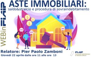 Read more about the article WEBinFIAIP – Reggio Emilia 22/04/2021 | Asta, saldo e stralcio, procedura di sovraindebitamento