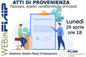 Read more about the article WEBinFIAIP – PARMA 26/04/2021 | ATTI DI PROVENIENZA