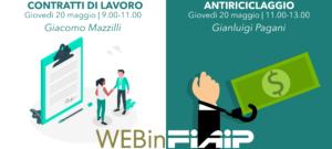 Read more about the article WEBinFIAIP ER – 20/05/2021 | Contratti di lavoro – Antiriciclaggio