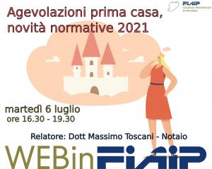 Read more about the article PIACENZA – 6/07/2021   Agevolazioni prima casa e novità normative 2021